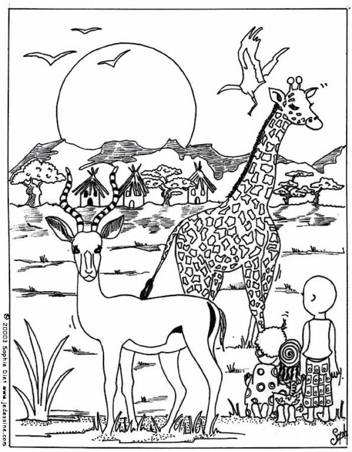 Coloriages girafe d 39 afrique - Coloriage afrique a imprimer ...