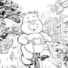 Coloriage de Grosbisou en vélo