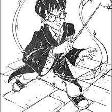 Coloriage Harry Potter et sa baguette magique - Coloriage - Coloriage FILMS POUR ENFANTS - Coloriage HARRY POTTER - Coloriage BAGUETTE MAGIQUE
