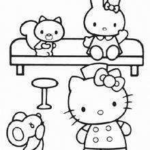 Coloriage de Hello Kitty à la maison - Coloriage - Coloriage HELLO KITTY