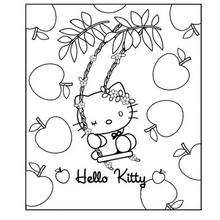 Coloriage de Hello Kitty au milieu des fruits
