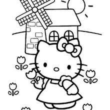 Coloriage de Hello Kitty au moulin - Coloriage - Coloriage HELLO KITTY