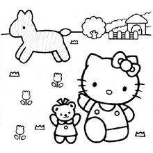 Coloriage de Hello Kitty dans les champs - Coloriage - Coloriage HELLO KITTY