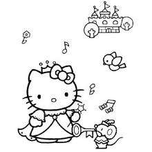 Coloriage de Hello Kitty qui ecoute de la musique - Coloriage - Coloriage HELLO KITTY