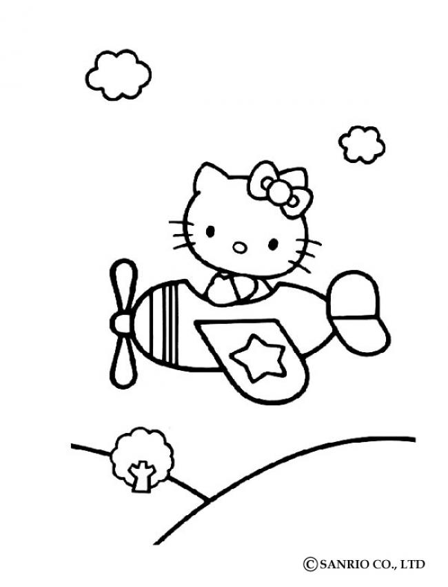 Coloriages coloriage de hello kitty en avion fr hellokids com