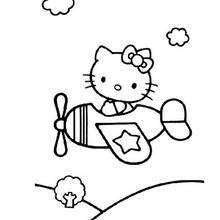 Coloriage de Hello Kitty en avion
