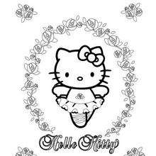 Coloriage de Hello Kitty en danseuse - Coloriage - Coloriage HELLO KITTY
