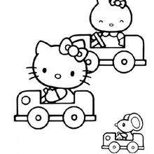 Coloriage de Hello Kitty en voiture