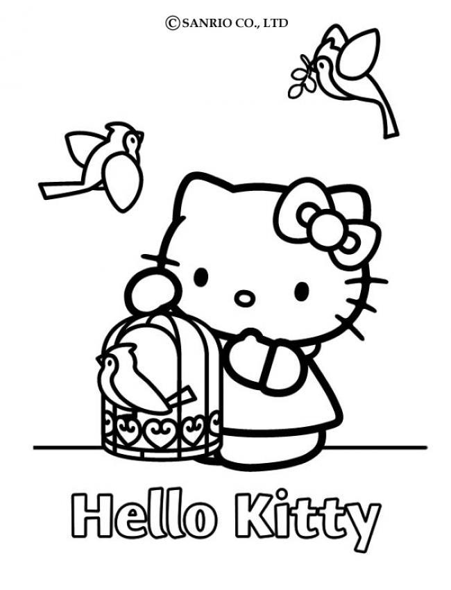 Coloriages coloriage de hello kitty et la cage d 39 oiseau - Coloriage hello kitty en ligne ...