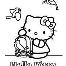 Coloriage de Hello Kitty et la cage d'oiseau - Coloriage - Coloriage HELLO KITTY