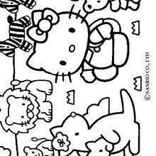 Coloriage de Hello Kitty et les animaux - Coloriage - Coloriage HELLO KITTY