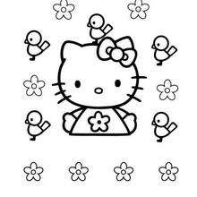 Coloriage de Hello Kitty et les oiseaux - Coloriage - Coloriage HELLO KITTY