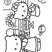 Coloriage de Hello Kitty et sa maman - Coloriage - Coloriage HELLO KITTY