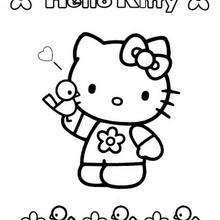 Coloriage de Hello Kitty et son ami l'oiseau - Coloriage - Coloriage HELLO KITTY