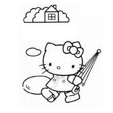Coloriage de Hello Kitty et son parapluie - Coloriage - Coloriage HELLO KITTY