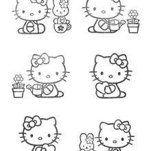 Coloriage de Hello Kitty qui fait du jardinage - Coloriage - Coloriage HELLO KITTY