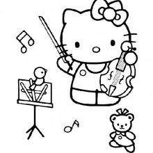 Coloriage de Hello Kitty qui fait du violon