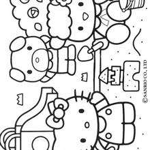 Coloriage de Hello Kitty sur la plage