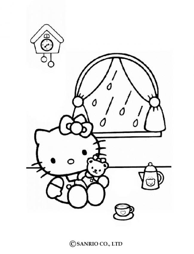 Hello Kitty joue à la poupée - Coloriage - Coloriages de tes HÉROS PRÉFÉRÉS - Hello Kitty