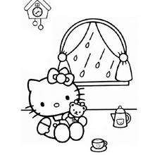 Coloriage de Hello Kitty qui joue à la poupée - Coloriage - Coloriage HELLO KITTY