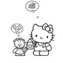 Coloriage de Hello Kitty la gourmande