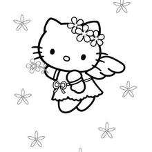 Coloriage de Hello Kitty petit ange - Coloriage - Coloriage HELLO KITTY