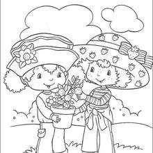 Coloriage de Charlotte aux fraises : Charlotte qui jardine