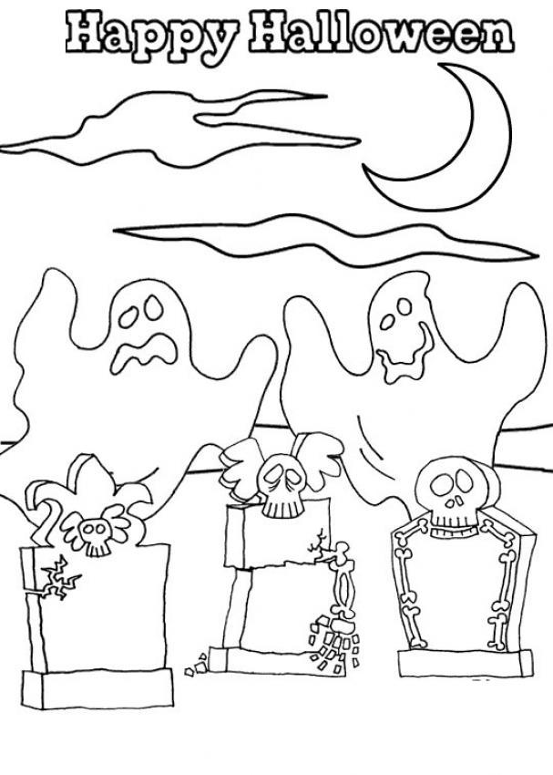 Coloriage d'Halloween : Happy Halloween les fantômes