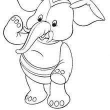 Coloriage de Jumbo l'elephant qui fait coucou