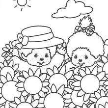 Coloriage de Kiki au milieu des fleurs - Coloriage - Coloriage GRATUIT - Coloriage PERSONNAGE IMAGINAIRE - Coloriage KIKI