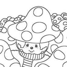 Coloriage de Kiki dans un champignon - Coloriage - Coloriage GRATUIT - Coloriage PERSONNAGE IMAGINAIRE - Coloriage KIKI