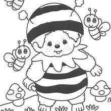 Coloriage de Kiki déguisé en abeille