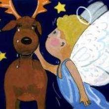 Dessin d'enfant : L'ange et le renne
