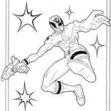 Coloriage Power Rangers : Attaque de Ranger Jaune