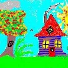 Dessin d'enfant : Ma maison en automne