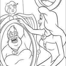 Coloriage de l'image d'Ursula dans le miroir - Coloriage - Coloriage DISNEY - Coloriage LA PETITE SIRENE