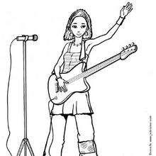 Coloriage d'une chanteuse avec sa guitare