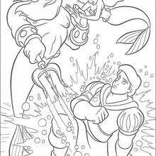 Coloriage Disney : La colère du roi Triton