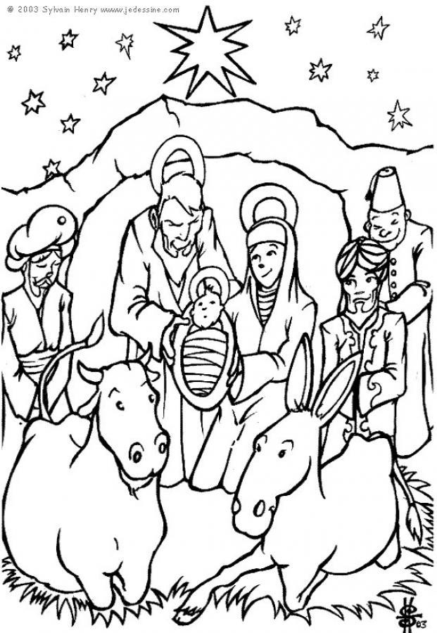 Coloriage : La crèche de Noël