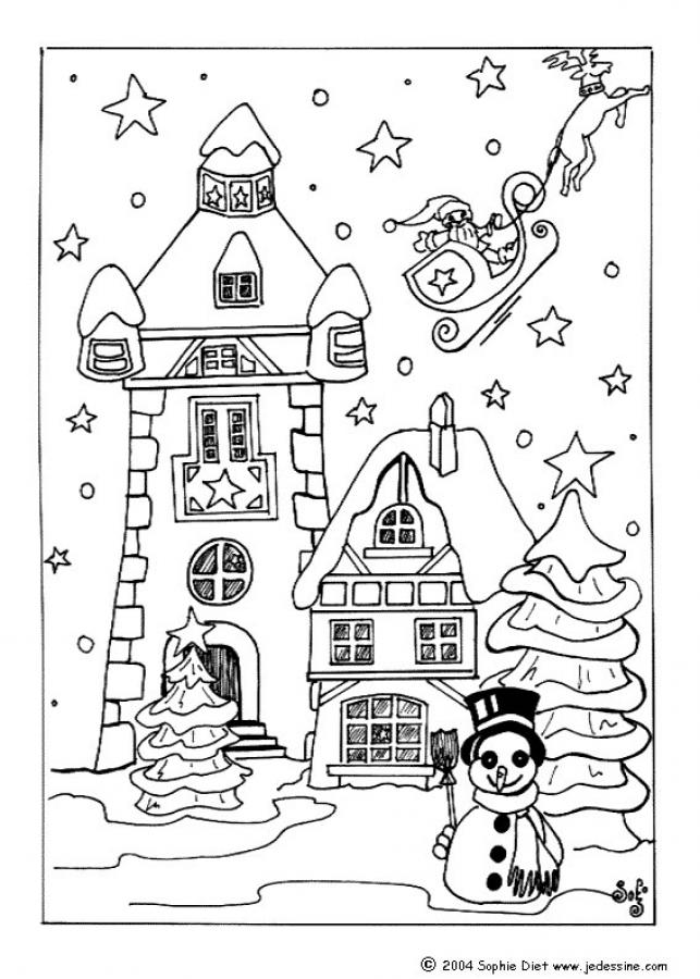 Coloriages santa claus quitte le village de no l fr - Coloriage village de noel ...