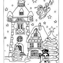 Coloriage : Santa Claus quitte le village de Noël