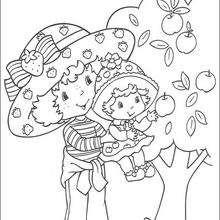 Coloriage de Charlotte aux fraises : La cueillette des pommes