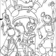 Coloriage de la danse des robots