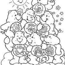Coloriages coloriage d 39 un bonhomme de neige avec les enfants - Bisounours coloriage ...