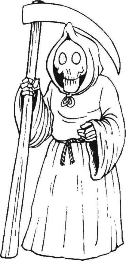 Coloriage d'Halloween : Coloriage de la mort et la faux