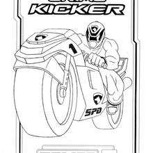 Coloriage Power Rangers : La moto Crime Kicker