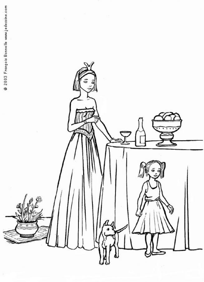 Coloriage d'une petite fille avec un chien
