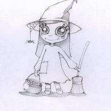 Coloriage d'Halloween : Coloriage d'une petite sorcière