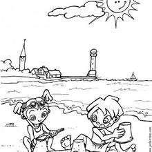 Coloriage d'enfants à la plage
