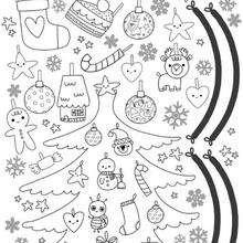 Coloriage de la planche de l'Arbre de Noël